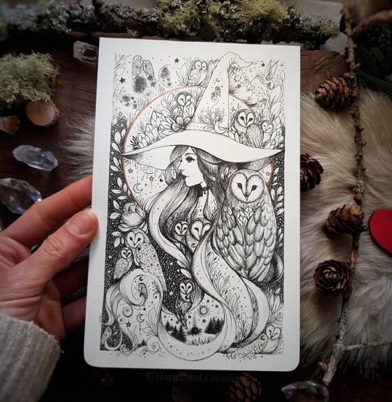 ORIGINAL ART: Witch and Owls,Original illustration on moleskine page, ink drawing, ink art, magical art
