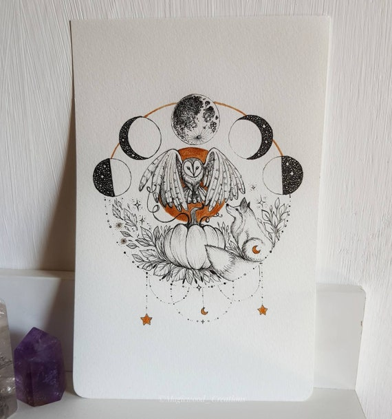 Original art, Owl and Fox, original illustration on Moleskine page, pen drawing