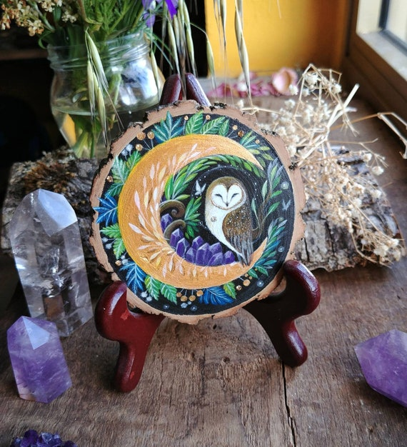 Barn owl painting on a golden Moon, animal spirit, art on wood, painted wood slice, original art, gift idea