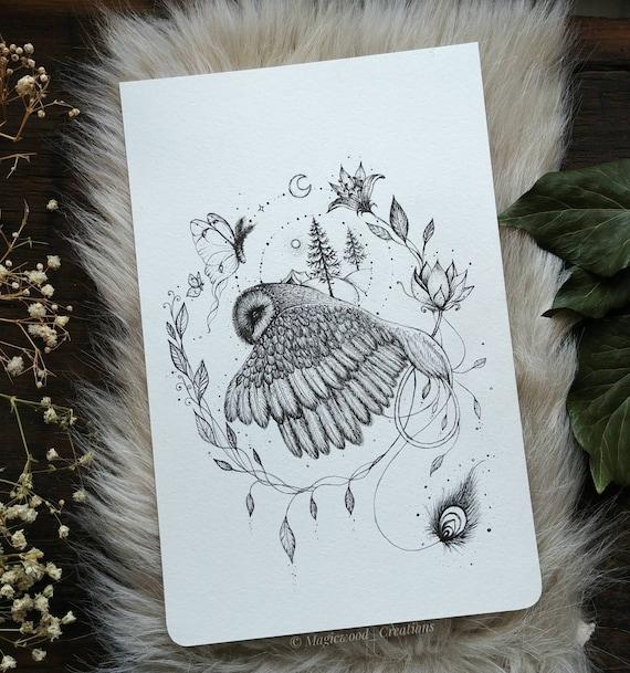 Original illustration, in-flight bearded pen drawing, 5.5 x 8 inches, owl gift idea, owl art