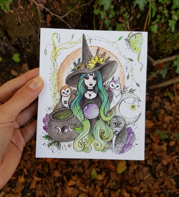 Witch with Owls, Halloween decoration, artistic print, gift idea