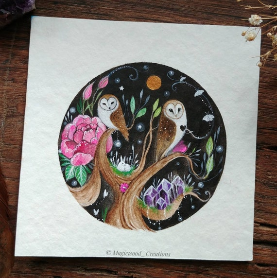 Original painting Guardians in the Magical night, barn owl with lunar moths, pink flowers, magic art