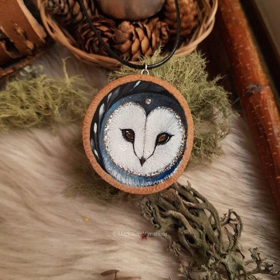 Owl pendant, beards painted on wood, animal spirit, gift idea