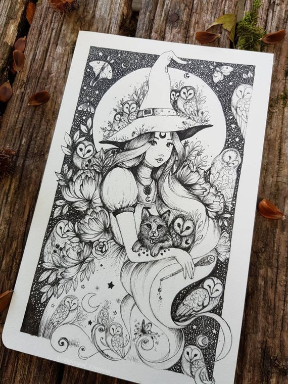 Witch and Owls, original illustration on Moleskine page, pen drawing