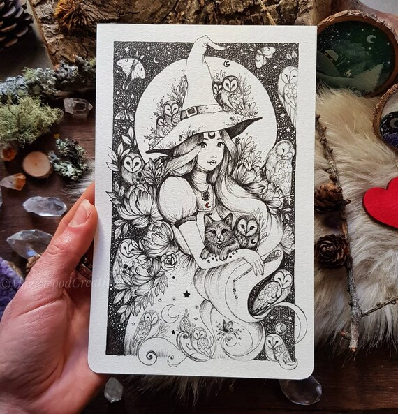 ORIGINAL ART: Witch and Owls,Original illustration on moleskine page, ink drawing