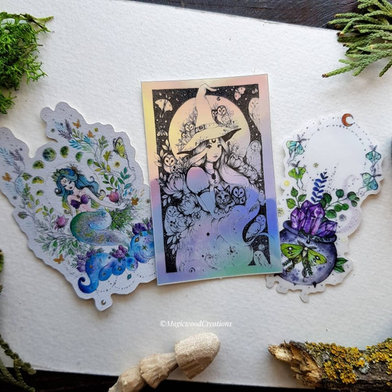 Set 3 stickers : Mermaid, Witchy cauldron, Witch & owls