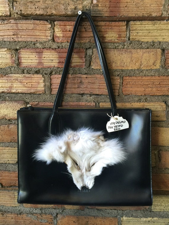 c9ed38985a62 Vintage Italian made DESMO Black leather handbag with real Fox