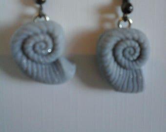 Shell silver colour earrings