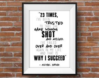 Why I Succeed - Michael Jordan Quote - Printable Wall Art - Typographic Digital Print - Motivational Quote