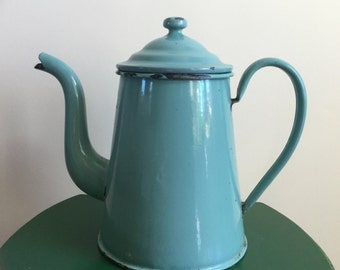 French Vintage Turqoise Coffeepot