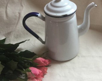 Vintage Swedish White & Navy Blue Enamel Coffeepot