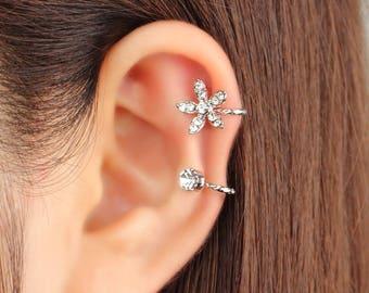 flower ear cuff, ear jacket, ear climber, CZ ear cuff, ear crawler, no pierce, CZ ear climber, Ear cuff no piercing, non pierced, earcuff