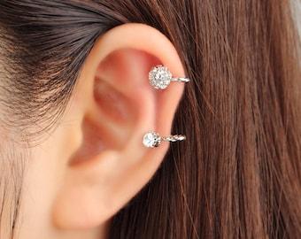 Ear cuff no piercing, non pierced, earcuffs no piercing, cubic zirconia, ear cuff, silver, ear crawler, no pierce, ear cuff earrings, gift
