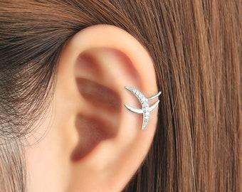 Ear cuff no piercing, non pierced, crescent moon earrings, ear jacket, CZ ear cuff, ear crawler, no pierce, CZ ear climber, earcuffs, gift