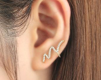 Ear cuff no piercing, non pierced, thunder earrings, ear jacket, CZ ear cuff, ear crawler, no pierce, CZ ear climber, earcuffs, silver, gold