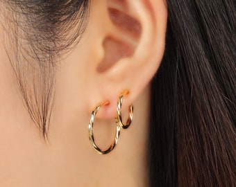 Clip on hoop earrings Capri Blue and Oiled Bronze Gunmetal non pierced