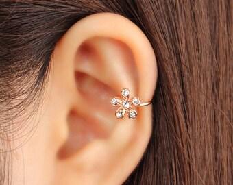 Ear cuff no piercing, non pierced, flower ear cuff, ear jacket, ear climber, CZ ear cuff, ear crawler, no pierce, CZ ear climber, rose gold
