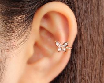 Ear cuff, no piercing, non pierced, ear climber, CZ ear cuff, ear crawler, no pierce, ear jacket, CZ ear climber, butterfly, gold plated