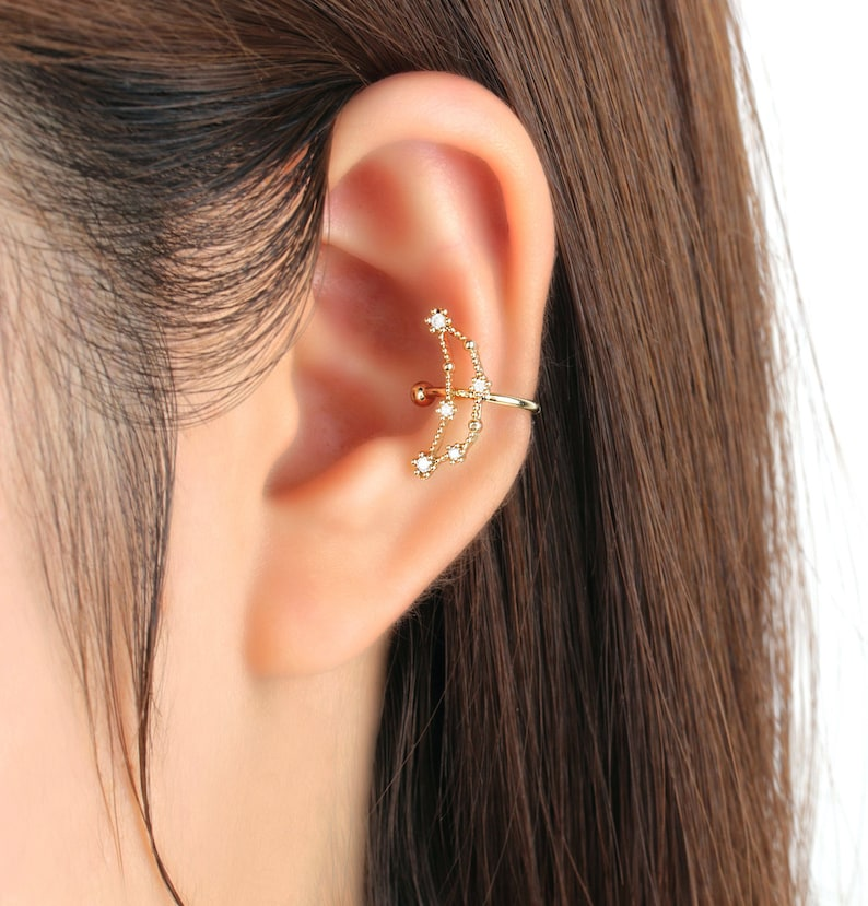 Ear Cuff No Piercing Constellation Earrings No Pierce Astrology Horoscope Earring Zodiac Earcuff Jewelry Cubic Zirconia Gold