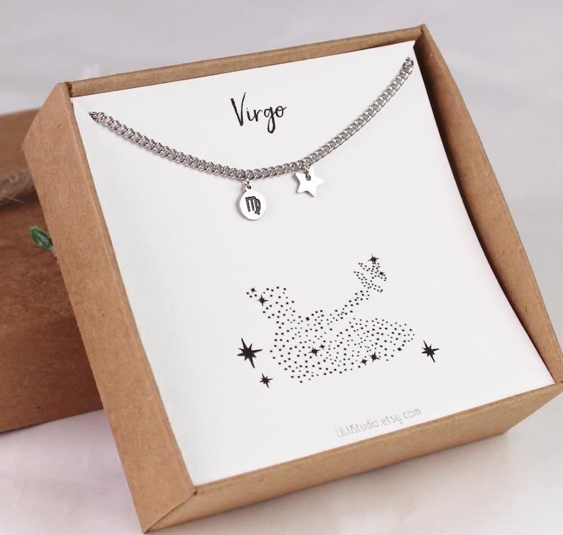 constellation Virgo gift Virgo star sign Virgo jewelry anklet Virgo zodiac Virgo horoscope zodiac jewelry silver horoscope jewelry