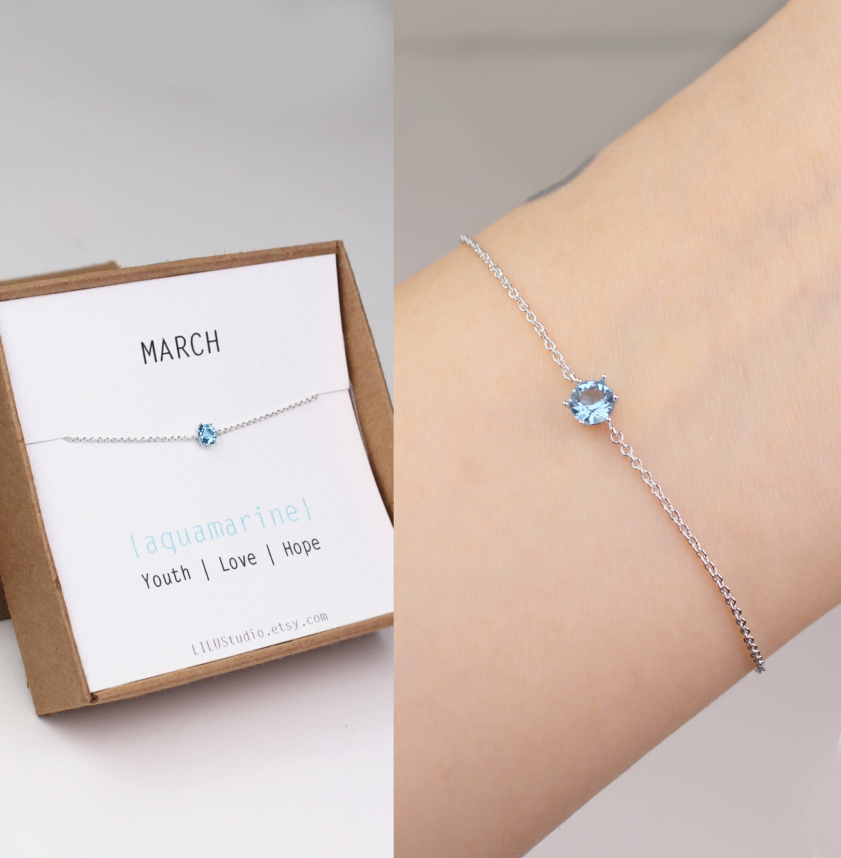 72610312ca3ae March birthstone, birthstone bracelet, aquamarine bracelet, birthstone  jewelry, Swarovski stone, silver plated, sister birthday gift, gold