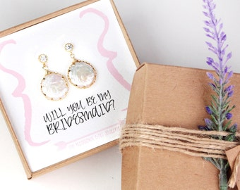 Gold Pearl Bridesmaid Earrings, Will You Be My Bridesmaid, Bridesmaid Gift, Freshwater Pearl Earrings, Bridesmaid Proposal Gift, Wedding