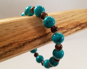 Teal and brown beaded stretch bracelet