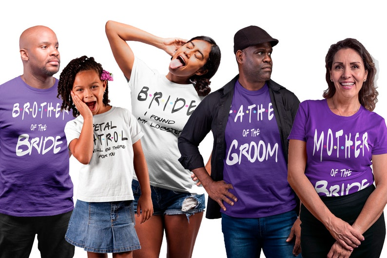 Wedding party personalized shirts Father of the Bride Bridal shower custom shirts Bachelorette party shirts Mother of the Bride Bride