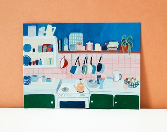 Illustrated Quirky Kitchen Giclee Print