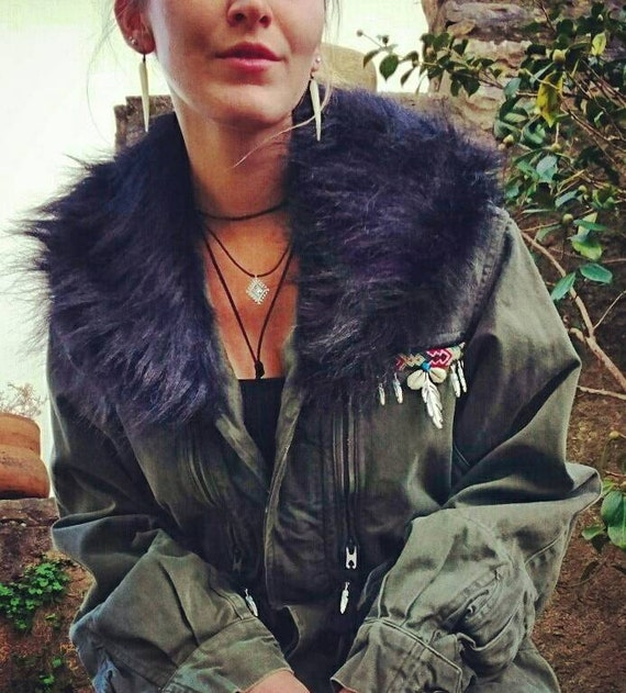 Army Jacket - Silver feather