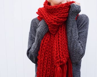 Wool Fringe Scarf | Long fringe scarf | Open ended scarf | The Janice Scarf in Red