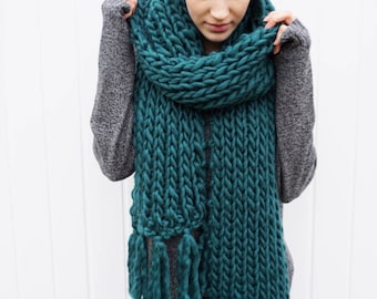 Wool Fringe Scarf | Long fringe scarf | Open ended scarf | The Janice Scarf in Forest Green