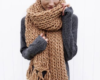 Long Fringe Scarf | Wool fringe scarf | Open ended scarf | The Janice Scarf in Beige
