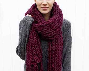 Wool Fringe Scarf | long fringe scarf | open ended scarf | The Janice Scarf in Bordeaux