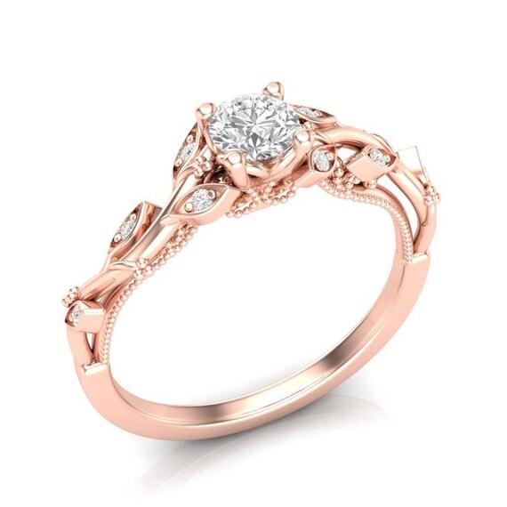 14k Floral Engagement Ring Rose Gold Ring Milgrain Filigree | Etsy