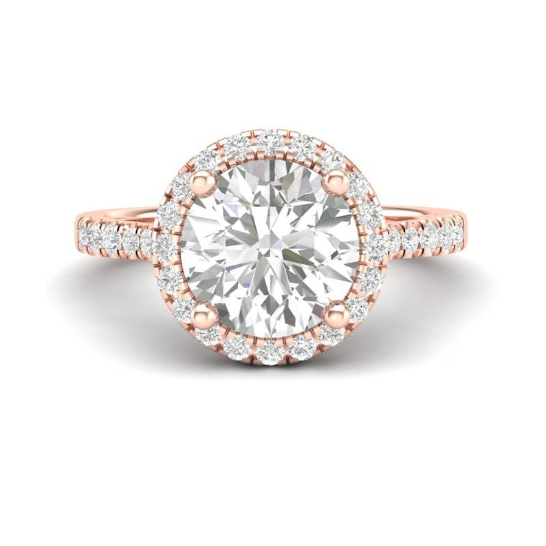 14k Halo Engagement Ring Rose Gold Ring 2 Carat Forever One image 0