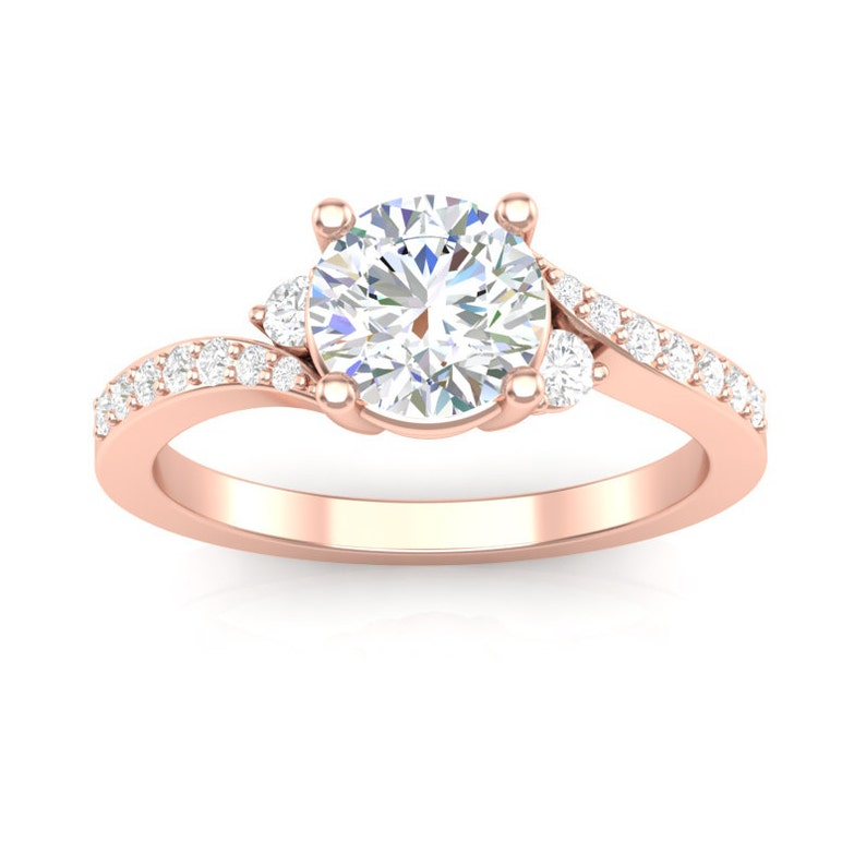 f94b69476 Rose Gold Engagement Ring Three Stone Twist Design Side Stone | Etsy