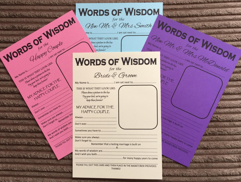 A5 Wedding Words Of Wisdom Table Trivia Bride Groom Advice