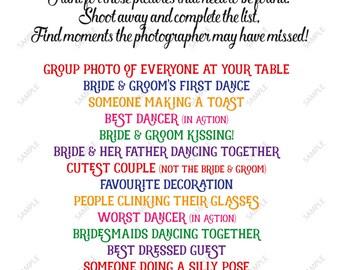 INSTANT DOWNLOAD Printable Wedding I Spy Sign Diy Wedding Game Camera Sign