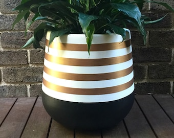 Hand-painted lightweight indoor plant pot black white gold stripes