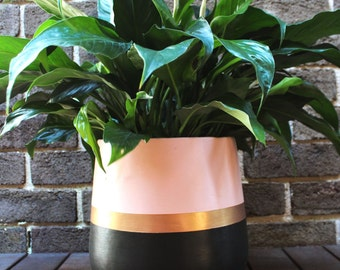 Hand-painted lightweight plant pot blush pink black gold