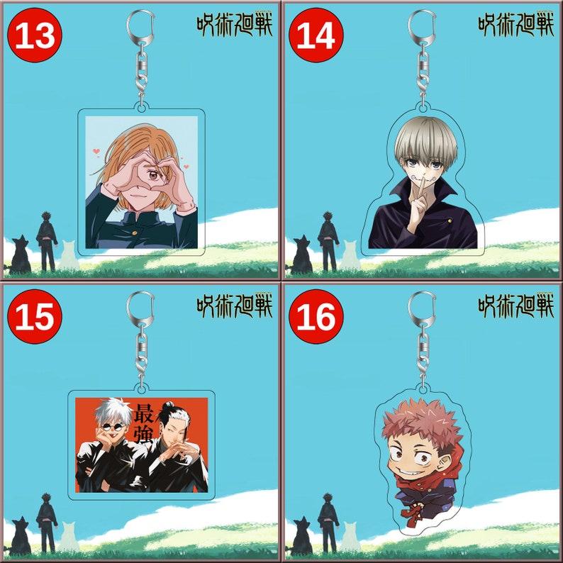 Set of 2pcs Jujutsu Kaisen \u546a\u8853\u5efb\u6226 \u3058\u3085\u3058\u3085\u3064\u304b\u3044\u305b\u3093 Acrylic Keychain Charms Cartoon Anime Game Panda Satoru Gojo Akari Nitta Itadori Megumi Fushiguro
