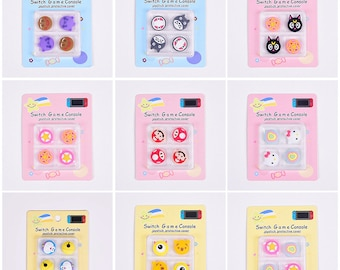 Set of 4pcs Kawaii Cute Anime Cartoon Online Game Thumb Grip Cap Cover Soft Silicone for | Switch | Switch Lite | Joy-Con | Gift