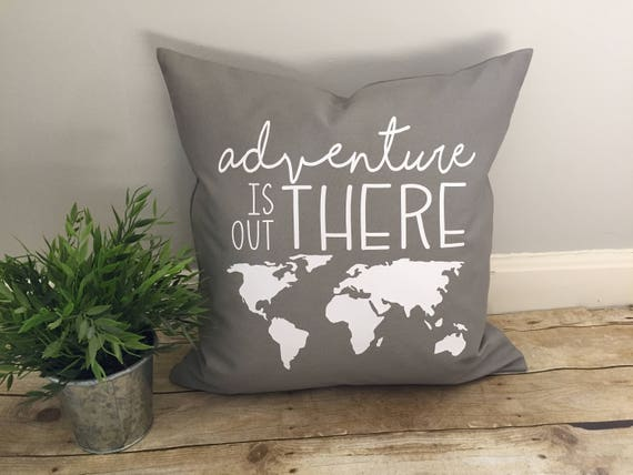Adventure is out there pillow cover adventures world map etsy image 0 gumiabroncs Choice Image