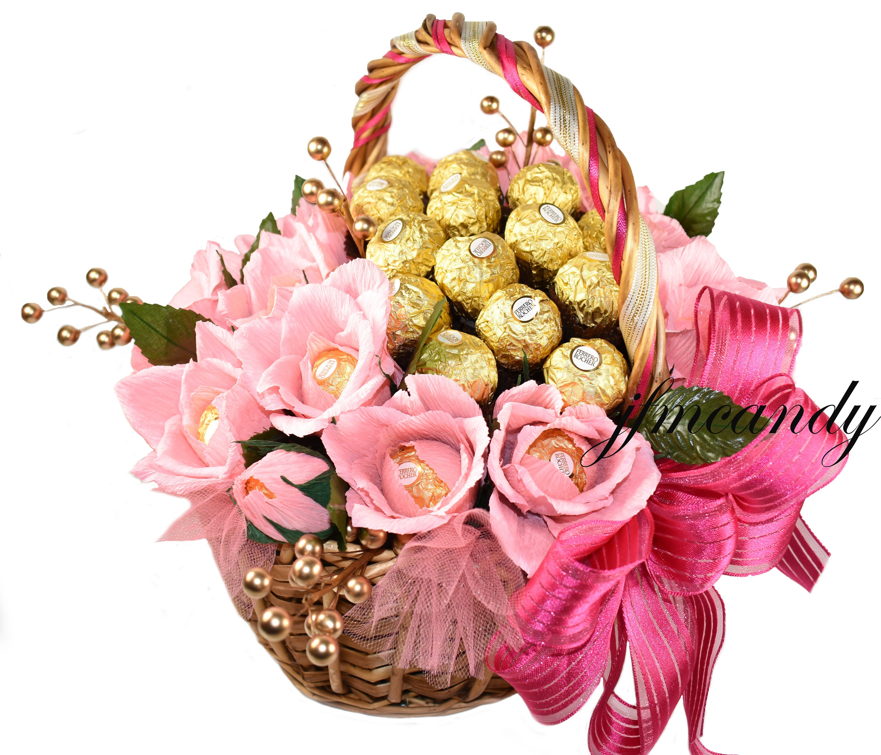 Flower bouquet ferrero rocher chocolate flower basket etsy izmirmasajfo