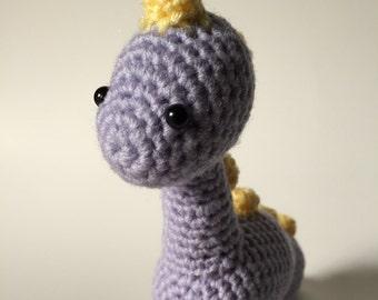 Ready to Ship - Lilac Brontosaurus, Crochet Dinosaur, Amigurumi Dinosaur, Dinosaur Plush, Brontosaurus Plush, Stuffed Animal, Desk Buddy