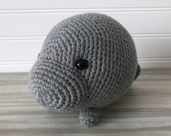 Ready to Ship - Gray Manatee, Stuffed Manatee, Crochet Manatee, Amigurumi Manatee, Handmade Stuffed Animal, Manatee Plush