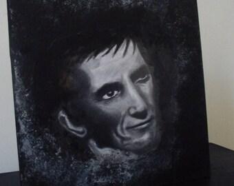 Original Portrait of Barnabas Collins, mixed media art. Drawing and acrylics on wooden panel. 1897 Dark Shadows. Vampire art.