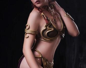Princess Leia Organa slave bikini costume from Star Saga, Cosplay outfit, force, rebels legion, Galactic alliance, jedi, resistance