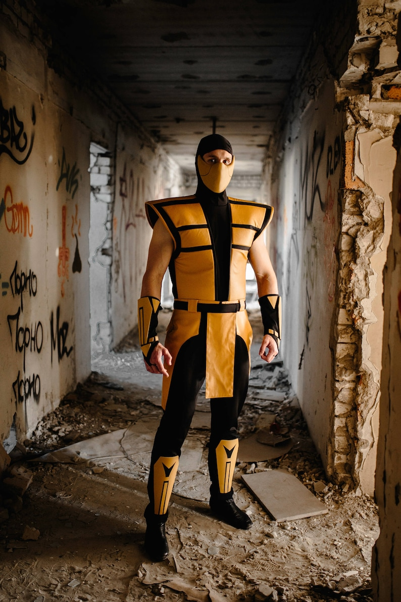 Scorpion mortal kombat cosplay costume from MK 3 Ultimate, Scorpion ninja  costume clothing
